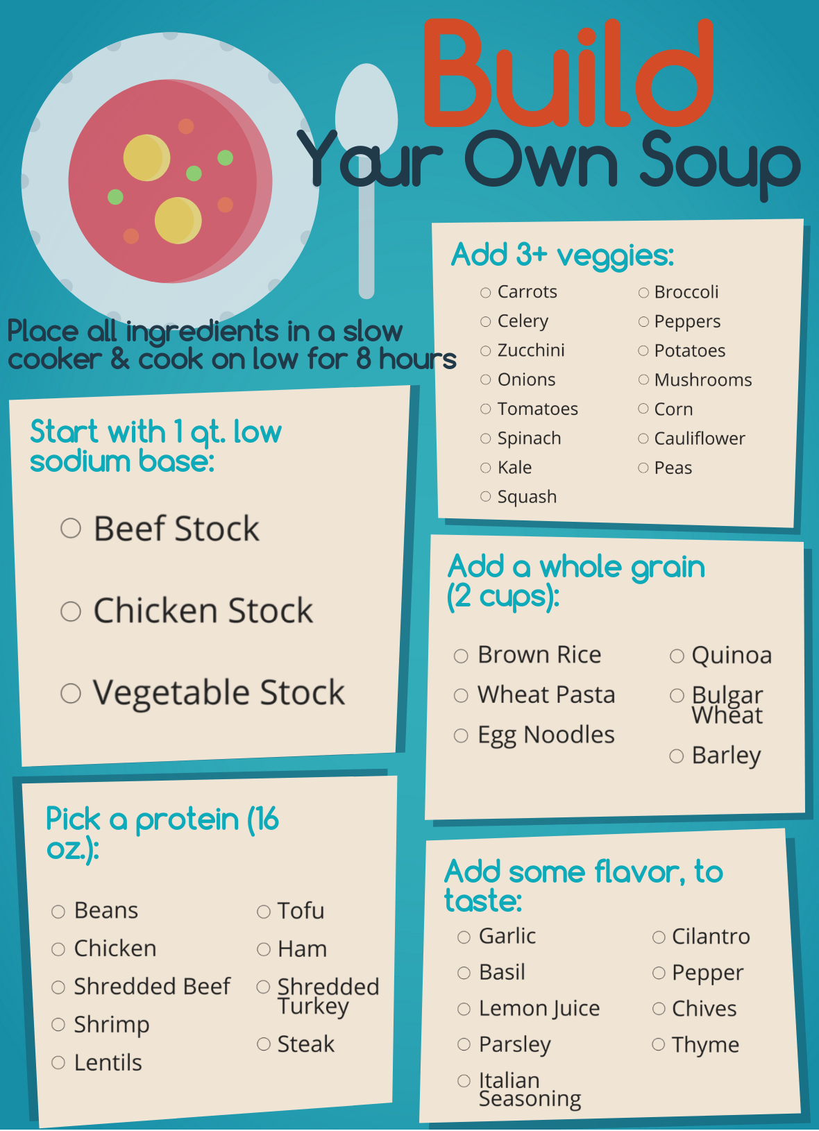 Image of the Build Your Own Soup Fareway pamphlet.