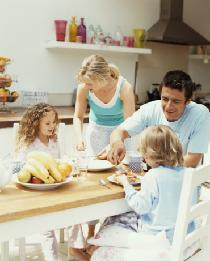 Image of a family enjoying a delicious breakfast together.