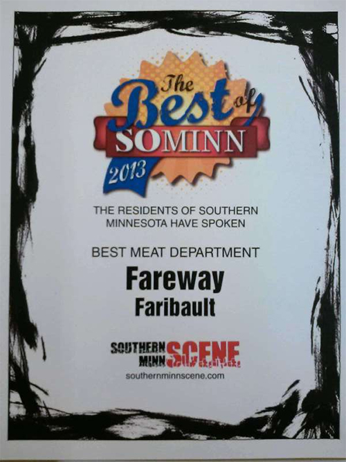 Faribault Fareway voted Best Meat Department Flyer