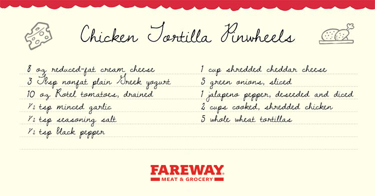 Image of the Chicken Tortilla Pinwheels Recipe Card.