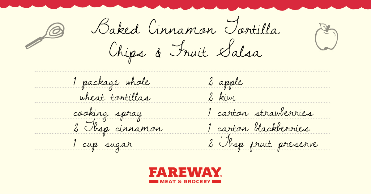 Image of the Baked Cinnamon Tortilla Chips & Fruit Salsa Recipe Card.