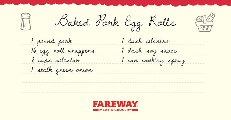 Image of the Baked Pork Egg Rolls Recipe Card.