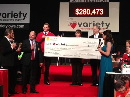 Fareway presenting the oversize check to Variety.