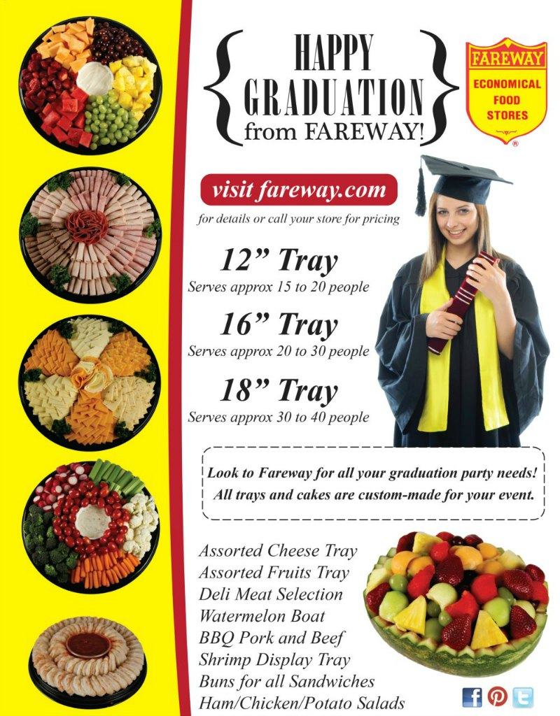 Assorted Fareway graduation food trays