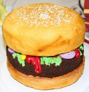 hamburger tiered cake