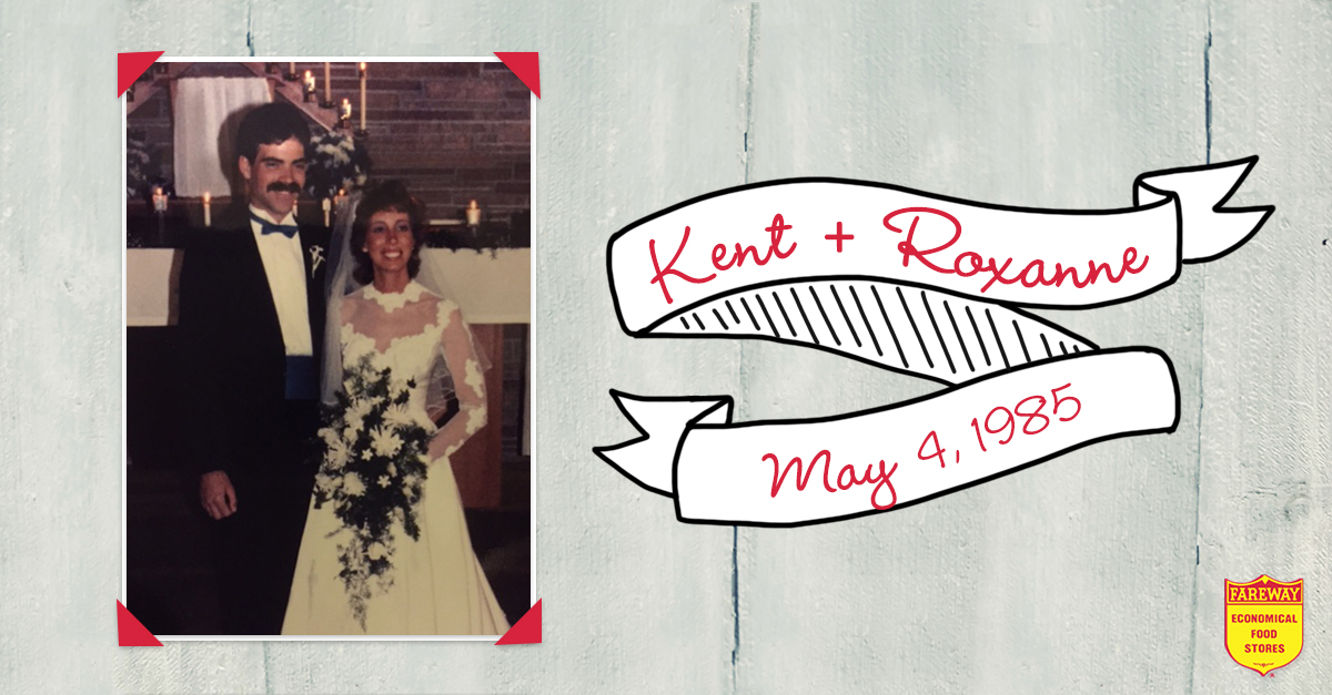 Wedding photo of Kent and Roxanne.