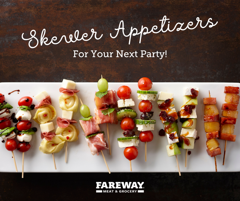 Image of skewer appetizers laid out for a party.