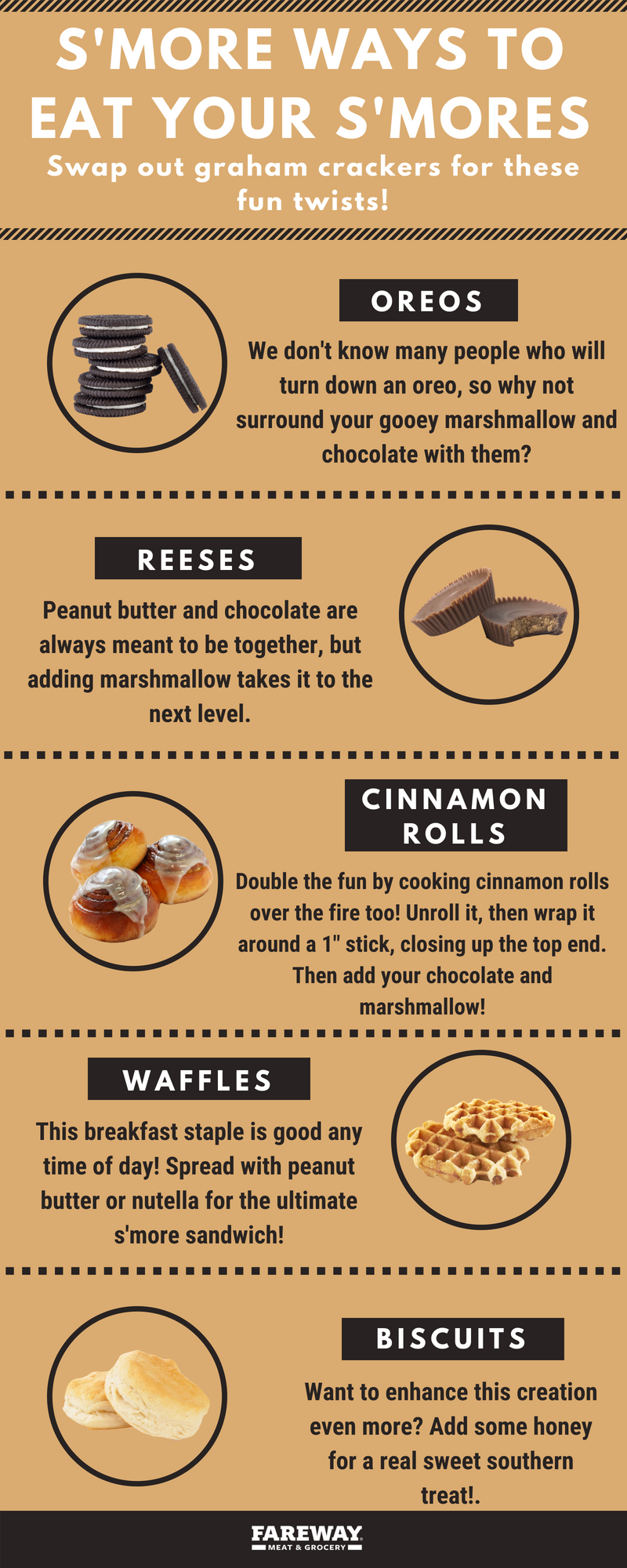 Image of multiple snacking foods to eat s'mores with.