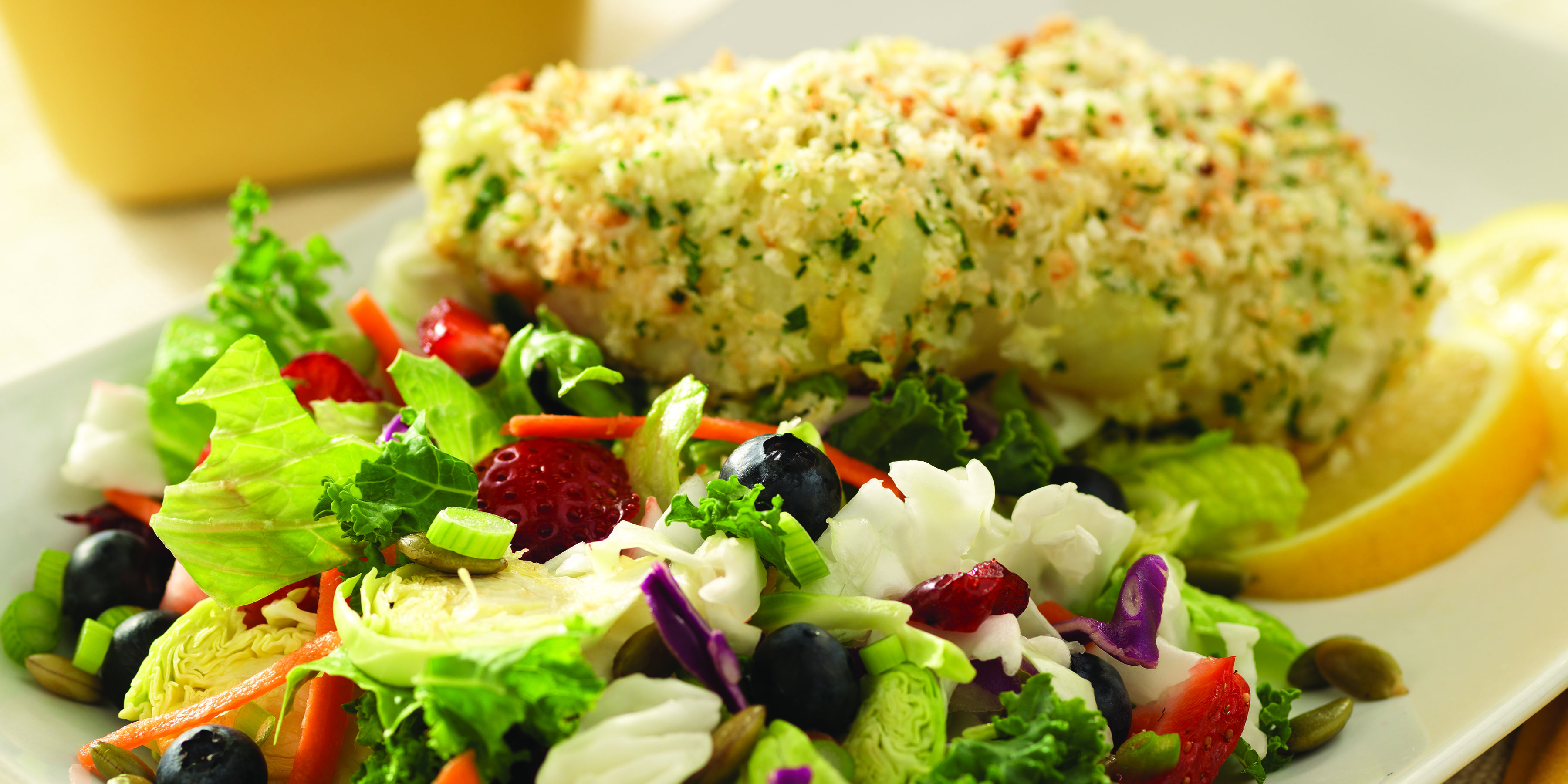 Lemon-Herb Crusted Cod with Berries and Chopped Salad