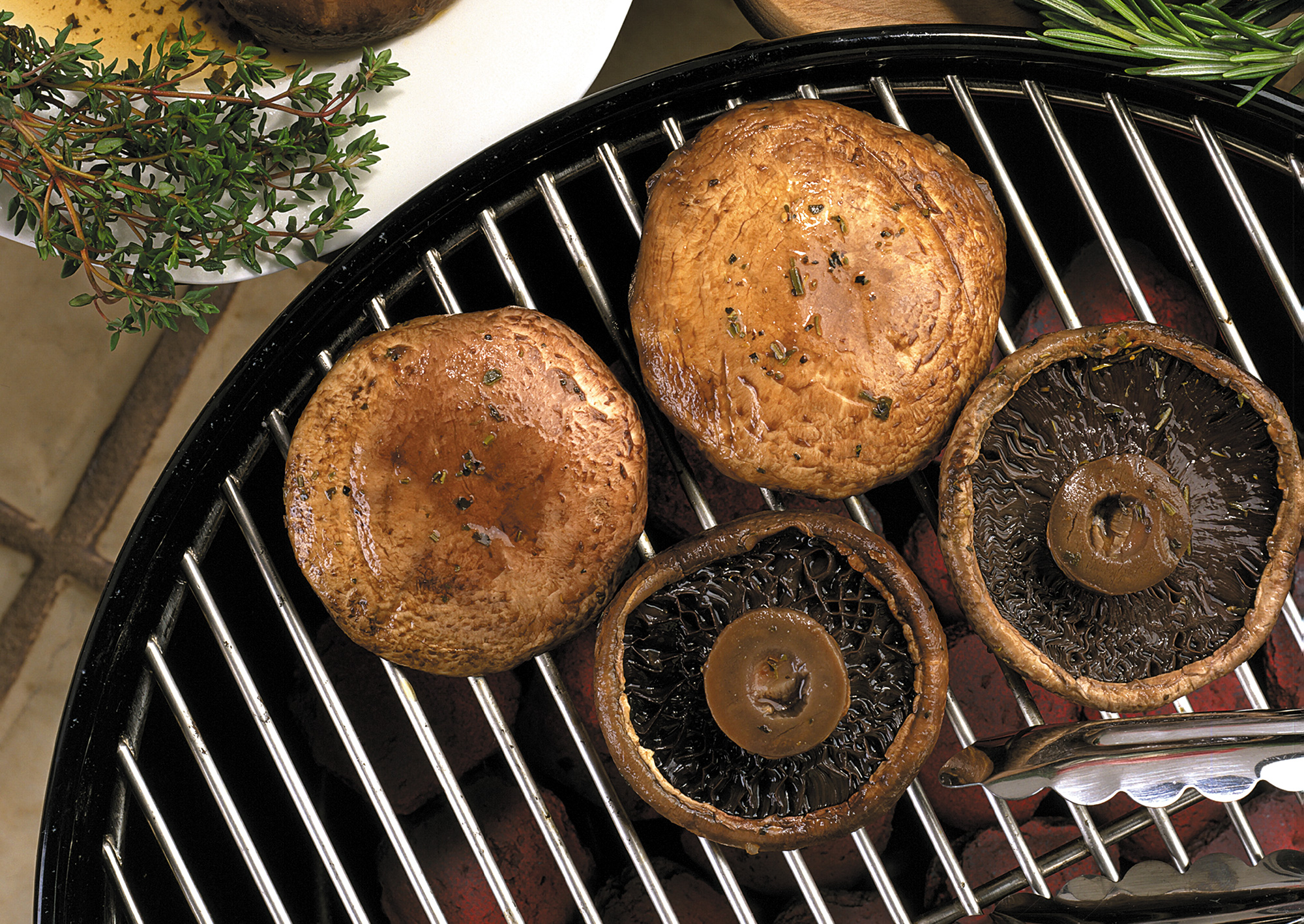 Grilled Portabella Caps Stuffed with Herb Cheese